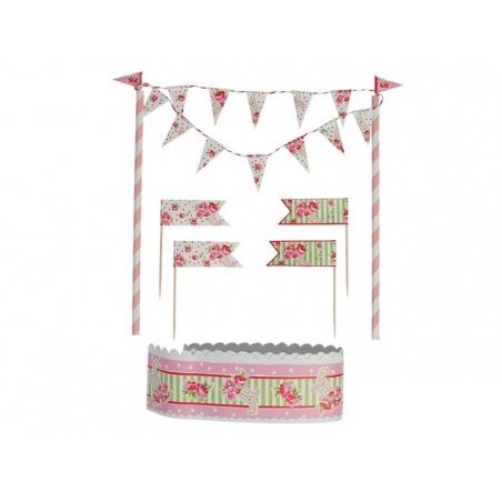 Set de décoration à gâteau - Fleuri rose Dotcomgiftshop - 3