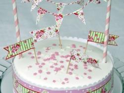 Set de décoration à gâteau - Fleuri rose