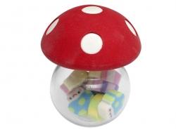 Glasfläschchen in Pilzform - gefüllt mit kleinen Radiergummis