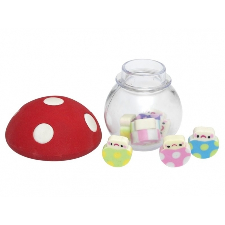Mushroom-shaped glass bottle filled with tiny erasers