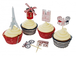 Set of 24 cupcake cases (6 cm) and 12 toppers - Paris