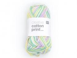 """Coton à tricoter """"cotton print"""" - 002 Vert jaune mauve"""