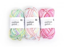"Knitting cotton - ""Cotton print"" - Green, yellow and mauve (colour no. 002)"