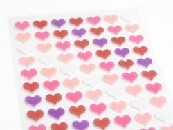 Stickers en feutrine - Coeurs roses et violets