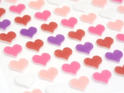 Felt stickers - pink and purple hearts