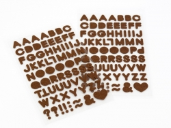 Felt stickers - brown letters (alphabet)