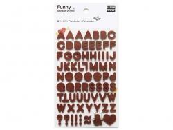 Felt stickers - brown letters (alphabet)