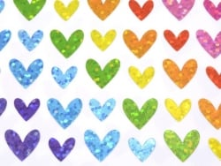 Heart stickers with a hologram - 4 sheets