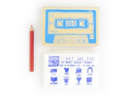 Mix tape stamp + stamp ink pad + red coloured pencil