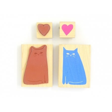 Cat stamp + heart stamp