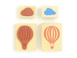 Hot-air balloon stamp + cloud stamp