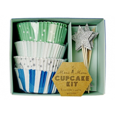 Set de 48 caissettes à cupcakes et 24 toppers étoiles - bleu, vert, argenté