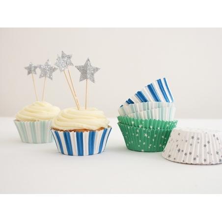 Set de 48 caissettes à cupcakes et 24 toppers étoiles - bleu, vert, argenté Meri Meri - 3