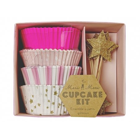 Set of 48 cupcake cases and 24 star toppers - pink, orange and gold