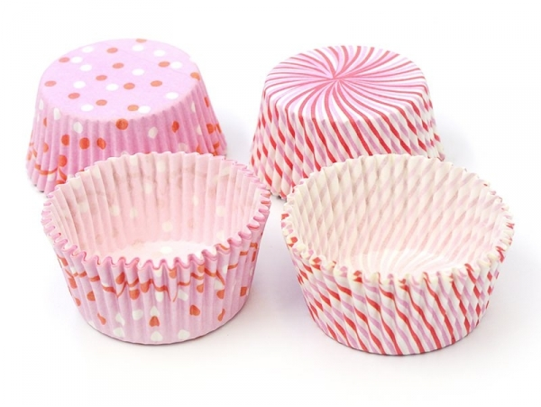 48 cupcake cases - pink and red stripes and polka dots