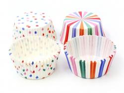 48 Caissettes à cupcakes - Rayures et pois - Multicolore