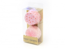 48 Caissettes à cupcakes - Rayures et pois roses et rouges