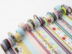 Maskingtape Trio (slim) - Zweifarbirge, diagonale Streifen in Pastellfarben