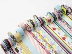 Maskingtape Trio (slim) - Zweifarbirge, diagonale Streifen in Metallicfarben