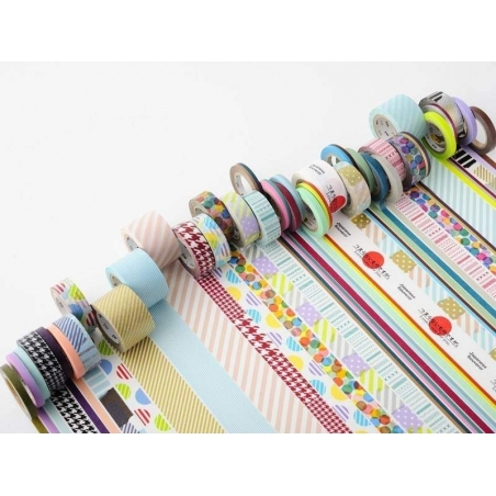Masking Tapetrio (slim) - Two-coloured, twisted design in metallic colours