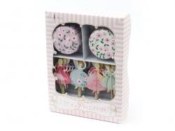 Set de 24 caissettes à cupcakes fleuries et 24 toppers Princesses