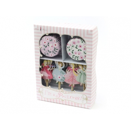 Set of 24 cupcake cases and 24 floral toppers - Princesses