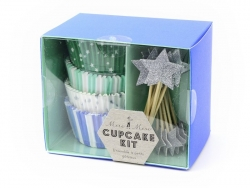 Set of 48 cupcake cases and 24 star toppers - blue, green and silver-coloured