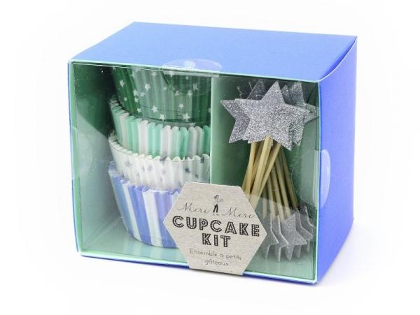 Set de 48 caissettes à cupcakes et 24 toppers étoiles - bleu, vert, argenté Meri Meri - 1