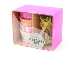 Set de 48 caissettes à cupcakes et 24 toppers étoiles - rose, orange, doré
