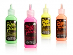 Peinture fluorescente rose, verte, orange et jaune pour textile - Puffy Paints