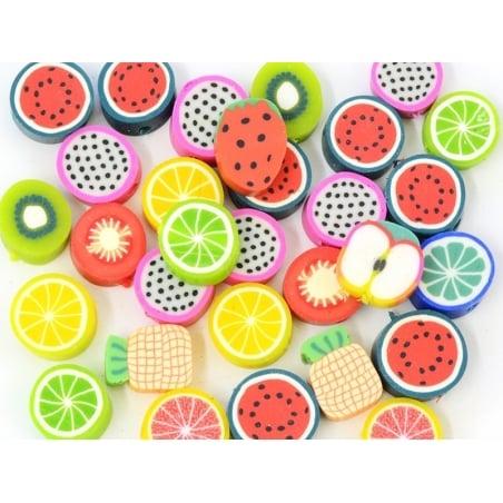 Acheter 30 perles en pâte polymère - fruits tutti frutti - 4,00€ en ligne sur La Petite Epicerie - Loisirs créatifs