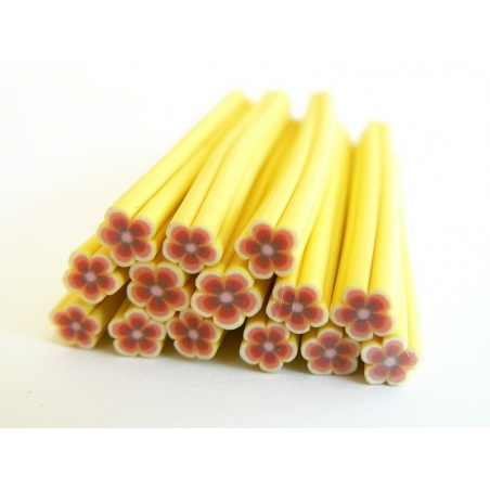 Daisy cane - yellow and red