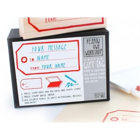 Tampon Gift Tag + Encreur rouge + Crayon bleu Yellow Owl Workshop - 2