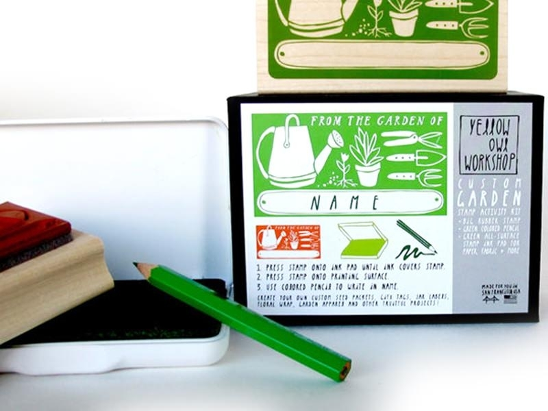 Custom Garden stamp + green ink pad + green coloured pencil