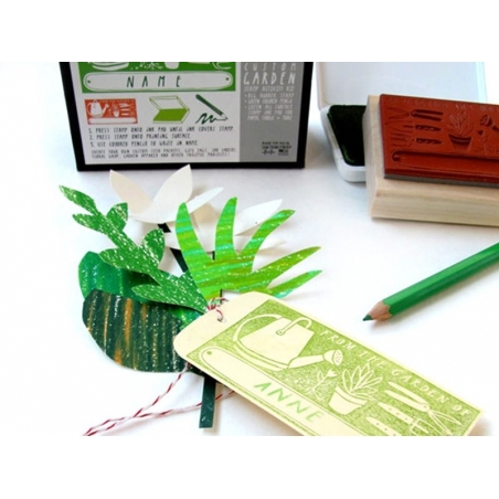Tampon Custom Garden + Encreur vert + Crayon vert Yellow Owl Workshop - 3