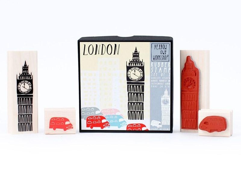London: Big Ben stamp + bus stamp