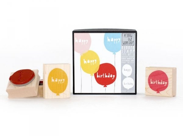"""Tampon ballon """"happy"""" + Tampon ballon """"birthday"""" Yellow Owl Workshop - 1"""
