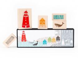 BEACH : Set de 5 tampons sur le thème de la plage