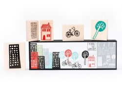 City: Rubber stamp set (5 pcs)