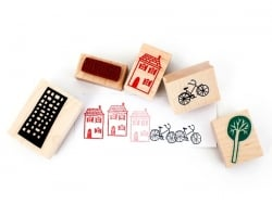 City: Rubber stamp set (5 pcs)