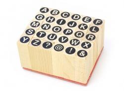 Tampons lettres majuscules cerclées - 30 caractères