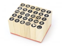 Tampons lettres minuscules cerclées - 30 caractères