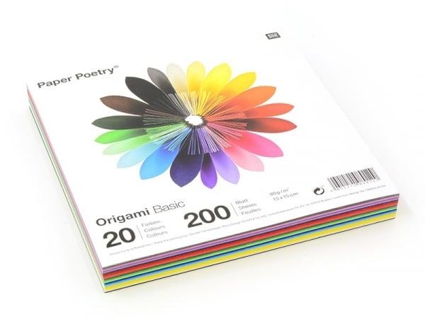 200 feuilles de papier Origami - 20 couleurs