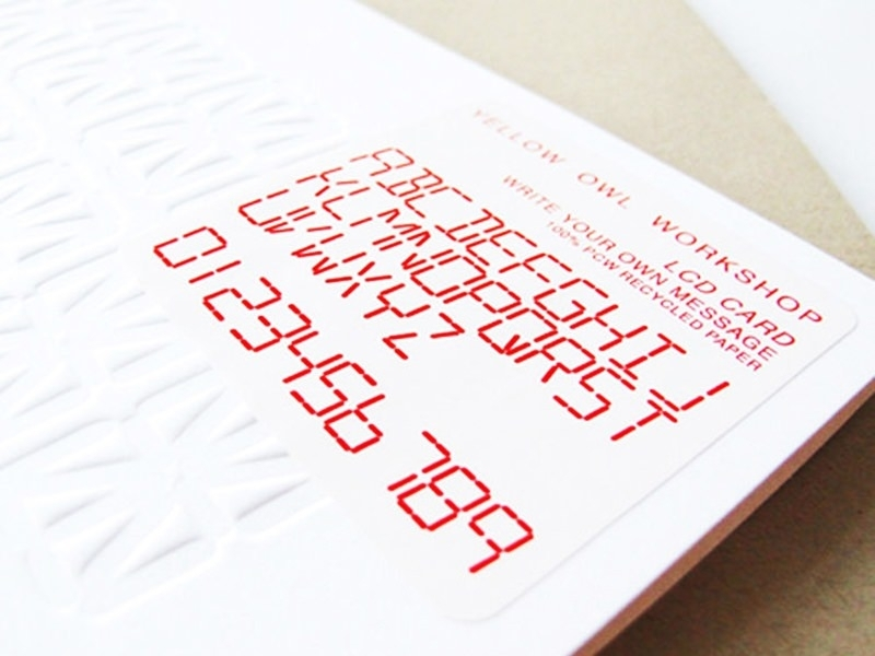 1 card with LCD letters that can be coloured + envelope