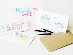 1 Karte mit Buchstaben in LCD-Design zum Ausmalen + Umschlag