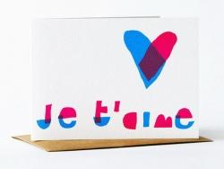 """1 Karte mit der Aufschrift """"Je t'aime"""" (Ich liebe dich) + Umschlag"""