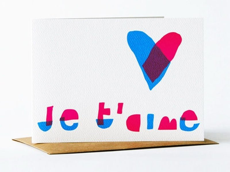 "1 card bearing the words ""Je t'aime"" (I love you) + envelope"