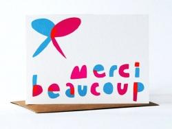 """1 Karte mit der Aufschrift """"Merci beaucoup"""" (Vielen Dank) + Umschlag"""