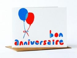 """1 Karte mit der Aufschrift """"Bon anniversaire"""" (Alles Gute zum Geburtstag) + Umschlag"""