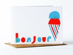 """1 Karte mit der Aufschrift """"Bonjour"""" (Guten Tag) und einem Eis + Umschlag"""